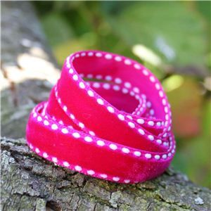 Velvet Saddle Stitch Ribbon - Hot Pink/White