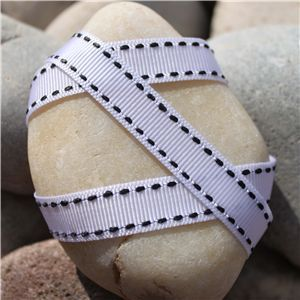 Saddle Stitch Ribbon - White/Black