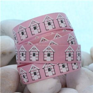 Summer Holiday Ribbon - Pink Beach Huts